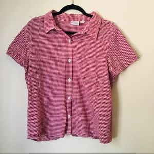 Soma Red Gingham Short Sleeve Button Up